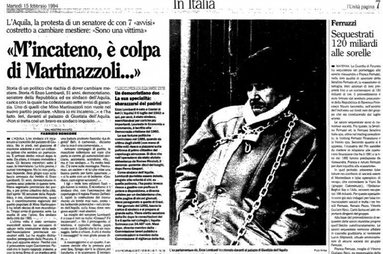 Lombardi: mi legai con le catene all'Aqula, ma non per avere un seggio